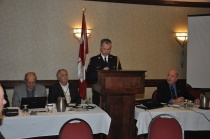 Supt. Scott McLean addressing the attendees. far left Rick Metcalfe, PPAO Secretary, Paul Bailey, PPAO President and far right Phil Slack, Director responsible for Benefits and Insurance.