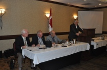 PPAO Board of Directors members from far left, Colin Vrooman, Treasurer, Dale Allan, Vice President, Rick Metcalfe, Secretary and at the podium President, Paul Bailey.