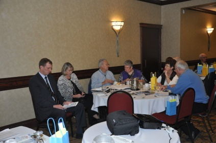 Sitting with the Peel contingent, presenters Chris Vanden Haak, far left and Deb Preston from OMERS