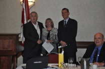 PPAO President Paul Bailey thanking Deb Preston, CEO OMERS and Chris Vanden Haak for addressing the attendees.