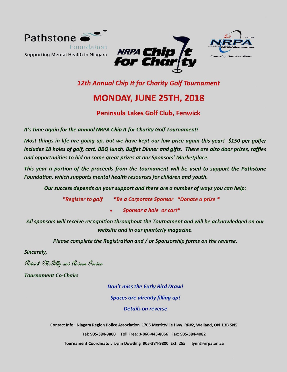 NRPA Chip It For Charity Golf Tournament – June 25/18   Police